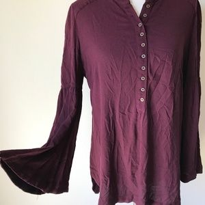 Free People Bell Sleeve Dark Purple Blouse Top